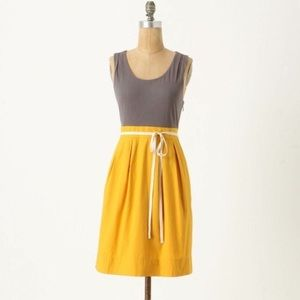 Maeve Anthropologie grey and gold dress
